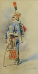 ORANGE MAURICE, OFFICIER DU 9ème HUSSARDS EN PIED : Aquarelle originale, Premier Empire.