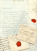 ENSEMBLE D'UNE VINGTAINE DE LETTRES DU MARIN DE SERRE À SA MÈRE et documents divers, 1779-1792.