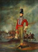 OFFICIER D'INFANTERIE BRITANNIQUE d'après un tableau signé Dighton en 1811 : Portrait miniature, fin du XIXème siècle.
