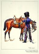 Photo 1 : Hussard en tenue de manœuvre des Hussards de la Garde Royale, 1824.