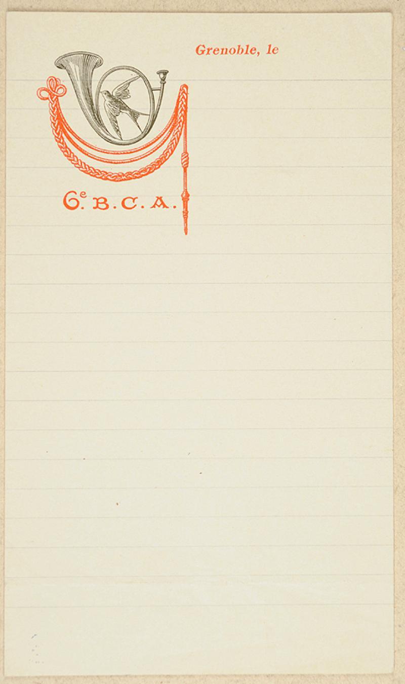 papier lettre illustr du 6e bataillon de chasseurs. Black Bedroom Furniture Sets. Home Design Ideas