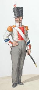 Photo 2 : 1820. Légions Départentales. Caporal de Voltigeurs (24e Légion - de la Drôme), Fourrier de Voltigeurs (45e Légion - du lot et Garonne).