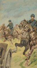 Photo 2 : TOUSSAINT MAURICE  (1882-1974) :  Gravure aquarellée, artillerie à cheval, 1915 - XXème siècle.