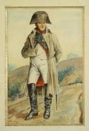 Photo 1 : M. BÉCHU, PORTRAIT EN PIED DE L'EMPEREUR NAPOLÉON Ier : Aquarelle originale, Premier Empire.