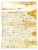 LETTRE D'UN SOLDAT À SON PÈRE, M. BLANC À ALBI, 2 septembre 1693, pendant la Guerre des 9 ans, bataille de Neerwinden.
