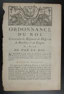 Photo 1 : Ordonnance du Roi concernant les régiments de hussards de Berchiny et de Turpin, du 5 mai 1758.