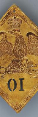 Photo 3 : PLAQUE DE SHAKO DU 10ème RÉGIMENT D'INFANTERIE DE LIGNE, MODÈLE 1806, PREMIER EMPIRE.