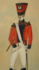 Photo 3 : KRAUSS F. : AQUARELLE ORIGINALE, CLARINETISTE D'UN RÉGIMENT D'INFANTERIE, PREMIÈRE RESTAURATION.
