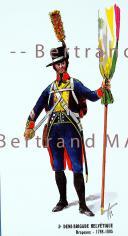 RIGO (ALBERT RIGONDAUD) : LE PLUMET CARTE DE VOEUX : 3E DEMI-BRIGADE HELVÉTIQUE DRAPEAUX 1798-1805