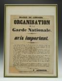 AFFICHE DE LA MAIRIE DE LIMOGES : ORGANISATION DE LA GARDE NATIONALE 1848.