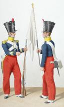 Photo 2 : 1830  Infanterie Légère. Caporal-Fourrier de Voltigeurs Sergent Prenant le fanion du 2è bataillon, Chasseur