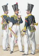 1830. Chasseurs à Cheval. Trompettes, Brigadier Trompette, Adjudant Sous-Officier (5e Régiment).