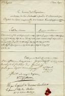 8ème RÉGIMENT DE CHEVAU-LÉGERS : MÉMOIRE DE PROPOSITION POUR UNE PLACE DE SOUS-LIEUTENANT, GÉNÉRAL COMTE JEAN-BAPTISTE JUVÉNAL CORBINEAU (1776-1848), GÉNÉRAL COMTE VICTOR N. DE FAY DE LATOUR-MAUBOURG (1768-1850), PREMIER EMPIRE.