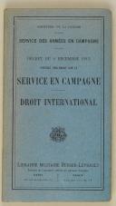 Décret du 2 décembre 1913 portant règlement sur les services des armées en campagne  (1)