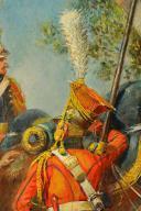 MAURICE ORANGE - HUILE SUR BOIS, REPRESENTANT DES LANCIER HOLLANDAIS DE LA GARDE IMPERIAL AU BIVOUAC, PREMIER EMPIRE. (10)