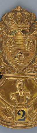 PLAQUE DE SHAKO DU 2ème RÉGIMENT DU GÉNIE, MODÈLE 1823, RESTAURATION. (1)