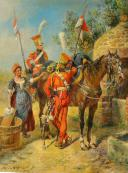 MAURICE ORANGE - HUILE SUR BOIS, REPRESENTANT DES LANCIER HOLLANDAIS DE LA GARDE IMPERIAL AU BIVOUAC, PREMIER EMPIRE. (1)