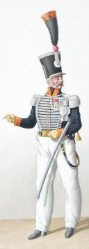 Photo 2 : 1830. Chasseurs à Cheval. Capitaine-Commandant, Brigadier-Fourrier, Maréchal des Logis-Trompette (15e Régiment).