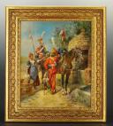 MAURICE ORANGE - HUILE SUR BOIS, REPRESENTANT DES LANCIER HOLLANDAIS DE LA GARDE IMPERIAL AU BIVOUAC, PREMIER EMPIRE. (2)