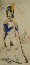 Photo 3 : GUILLAUME REGAMAY, GRAVURE D'UN GRENADIER À PIED AU BIVOUAC, PREMIER EMPIRE, GRAVURE.