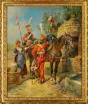 MAURICE ORANGE - HUILE SUR BOIS, REPRESENTANT DES LANCIER HOLLANDAIS DE LA GARDE IMPERIAL AU BIVOUAC, PREMIER EMPIRE. (3)