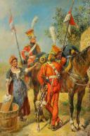 MAURICE ORANGE - HUILE SUR BOIS, REPRESENTANT DES LANCIER HOLLANDAIS DE LA GARDE IMPERIAL AU BIVOUAC, PREMIER EMPIRE. (4)