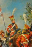 MAURICE ORANGE - HUILE SUR BOIS, REPRESENTANT DES LANCIER HOLLANDAIS DE LA GARDE IMPERIAL AU BIVOUAC, PREMIER EMPIRE. (5)