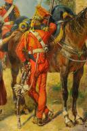 MAURICE ORANGE - HUILE SUR BOIS, REPRESENTANT DES LANCIER HOLLANDAIS DE LA GARDE IMPERIAL AU BIVOUAC, PREMIER EMPIRE. (6)