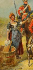 MAURICE ORANGE - HUILE SUR BOIS, REPRESENTANT DES LANCIER HOLLANDAIS DE LA GARDE IMPERIAL AU BIVOUAC, PREMIER EMPIRE. (7)
