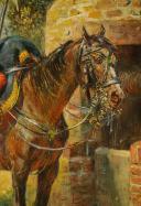 MAURICE ORANGE - HUILE SUR BOIS, REPRESENTANT DES LANCIER HOLLANDAIS DE LA GARDE IMPERIAL AU BIVOUAC, PREMIER EMPIRE. (8)