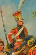 MAURICE ORANGE - HUILE SUR BOIS, REPRESENTANT DES LANCIER HOLLANDAIS DE LA GARDE IMPERIAL AU BIVOUAC, PREMIER EMPIRE. (9)