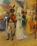 Photo 1 : MAURICE ORANGE - HUILE SUR BOIS REPRÉSENTANT LE MARIAGE D'UN CHASSEUR À CHEVAL DE LA GARDE IMPÉRIALE EN GRANDE TENUE, PREMIER EMPIRE.