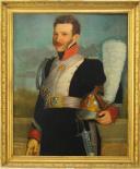 PORTRAIT D'UN SOUS-OFFICIER DE LA  GARDE NATIONALE DE LA VILLE DE PARIS EN GRAND UNIFORME, au règlement du 11 janvier 1816 : Huile sur toile, Restauration.