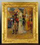 Photo 2 : MAURICE ORANGE - HUILE SUR BOIS REPRÉSENTANT LE MARIAGE D'UN CHASSEUR À CHEVAL DE LA GARDE IMPÉRIALE EN GRANDE TENUE, PREMIER EMPIRE.