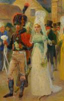 Photo 3 : MAURICE ORANGE - HUILE SUR BOIS REPRÉSENTANT LE MARIAGE D'UN CHASSEUR À CHEVAL DE LA GARDE IMPÉRIALE EN GRANDE TENUE, PREMIER EMPIRE.