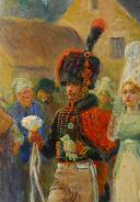 Photo 5 : MAURICE ORANGE - HUILE SUR BOIS REPRÉSENTANT LE MARIAGE D'UN CHASSEUR À CHEVAL DE LA GARDE IMPÉRIALE EN GRANDE TENUE, PREMIER EMPIRE.