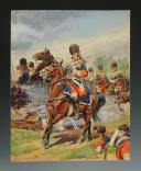 Photo 1 : LUCIEN ROUSSELOT : CUIRASSIERS DU ROI À FONTENOY 1745, AQUARELLE ORIGINALE, XXème SIÈCLE (1972).