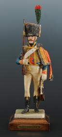 Photo 2 : FIGURINE EN FAÏENCE PAR BERNARD BELLUC : CHASSEUR À CHEVAL DE LA GARDE 1810.