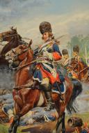 Photo 2 : LUCIEN ROUSSELOT : CUIRASSIERS DU ROI À FONTENOY 1745, AQUARELLE ORIGINALE, XXème SIÈCLE (1972).