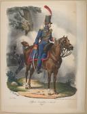 """BELLANGÉ - """" Officier d'artillerie à Cheval (Ligne) """" - Gravure - n° 9 - Restauration (1)"""