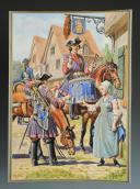 Photo 1 : LUCIEN ROUSSELOT : TIMBALIER ET TROMPETTE ROYAL CAVALERIE, ANCIENNE MONARCHIE, AQUARELLE ORIGINALE, XXème SIÈCLE (1931).