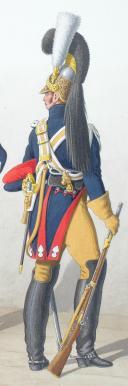 Photo 2 : 1830. Garde Royale. Gendarmerie d'Elite. Gendarme, Maréchal des Logis-Fourrier, Gendarme en grande tenue.