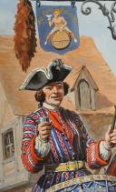 Photo 2 : LUCIEN ROUSSELOT : TIMBALIER ET TROMPETTE ROYAL CAVALERIE, ANCIENNE MONARCHIE, AQUARELLE ORIGINALE, XXème SIÈCLE (1931).
