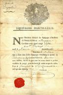 Photo 1 : CERTIFICAT DE CONGÉ DÉCERNÉ AU CITOYEN DUJEUX DES ÉQUIPAGES D'ARTILLERIE, ANCIENNE MONARCHIE.