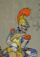 Photo 2 : LUCIEN ROUSSELOT :  CARABINIER PREMIER EMPIRE, AQUARELLE ORIGINALE SUR CALQUE, XXème SIÈCLE.