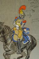 Photo 4 : LUCIEN ROUSSELOT :  CARABINIER PREMIER EMPIRE, AQUARELLE ORIGINALE SUR CALQUE, XXème SIÈCLE.