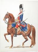 """Photo 1 : Mousquetaire gris et Grenadier à cheval de la Maison du Roi 1775, 2 aquarelles originales par Lucien ROUSSELOT d'après """"La Sabretache"""", collection CARLETL"""