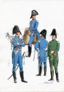 Photo 1 : PÉTARD MICHEL, PLANCHE ORIGINALE AQUARELLÉE : OFFICIERS D'ORDONNANCE, PREMIER EMPIRE.