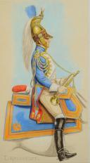 Photo 2 : ROUSSELOT Lucien, TROMPETTE DES DRAGONS DE LA GARDE  PREMIER EMPIRE, AQUARELLE ORIGINALE.