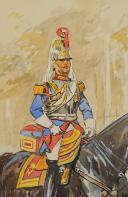 TOUSSAINT Maurice AQUARELLE ORIGINALE : CENT GARDES À CHEVAL. (3)